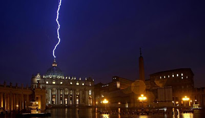 Dramatic photo and video of lightning striking St. Peter's Basilica at the Vatican just hours after Pope Benedict announces his retirement