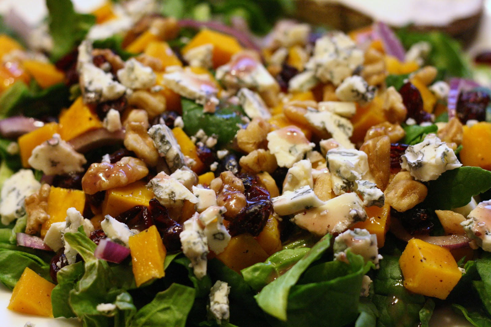 ... Roasted Butternut Squash Salad with Cranberries, Blue Cheese, and