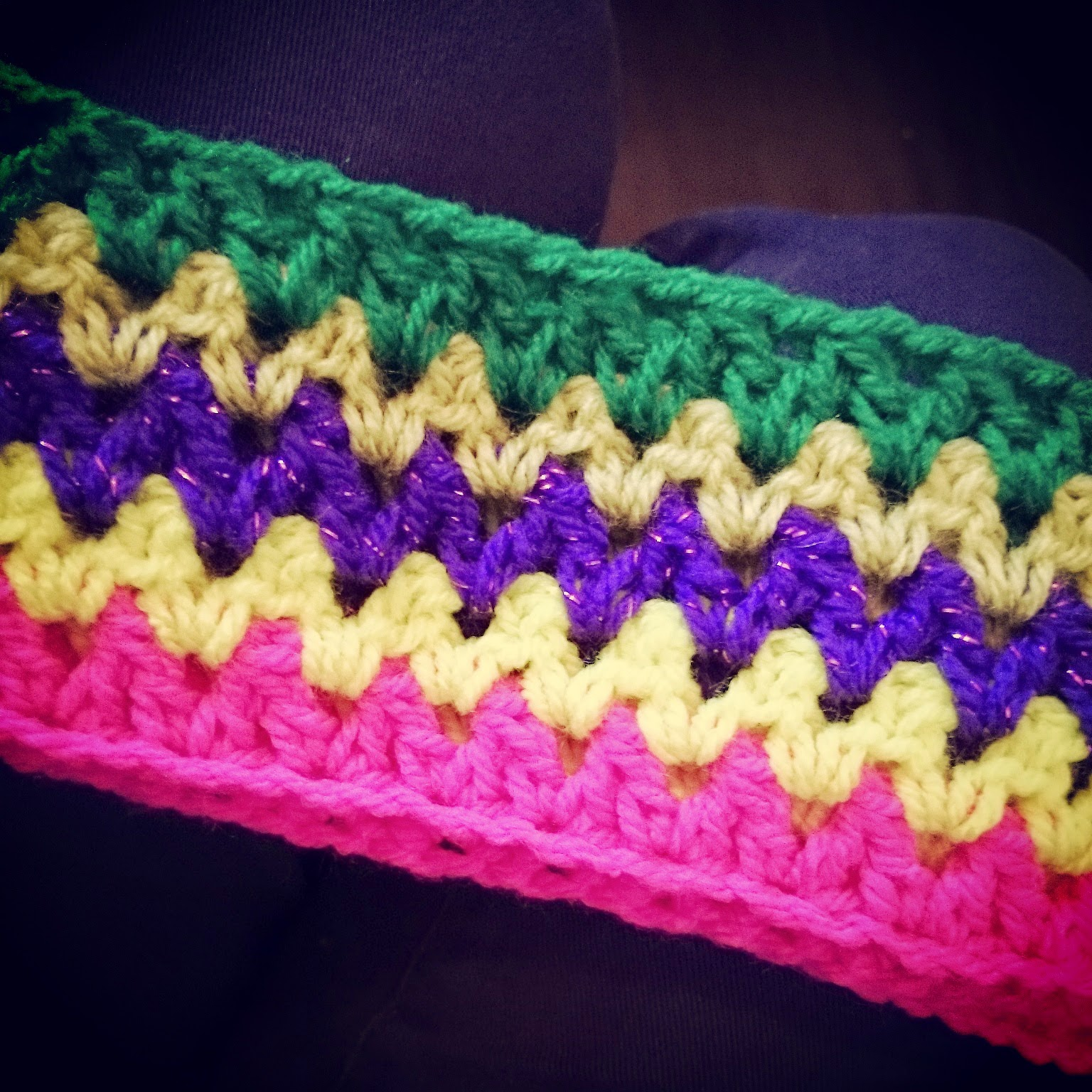 v stitch crochet travel blanket double crochet together method hook yarn wool bright vintage
