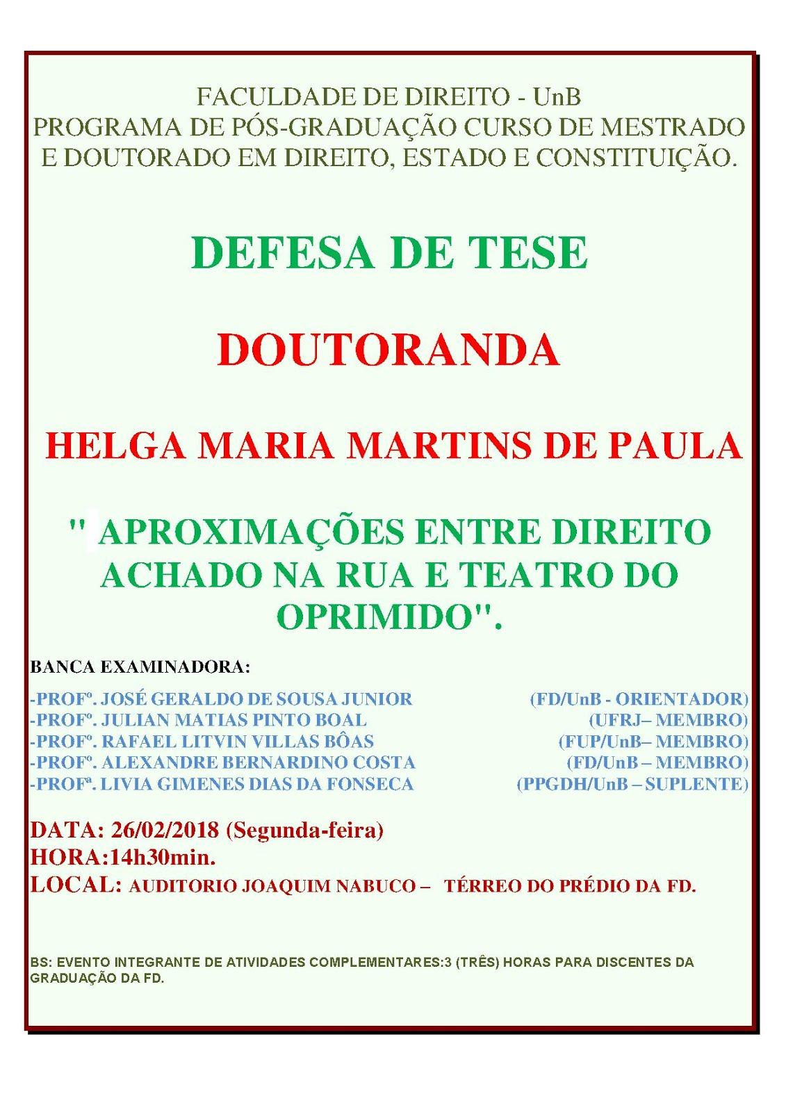 Convite para Defesa de Tese de Doutoramento