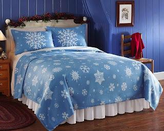Collections Etc - Snowflake Fleece Coverlet Blanket King