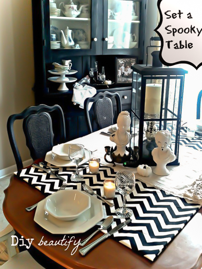 How to set a spooky table for halloween diy beautify for How do you set a table