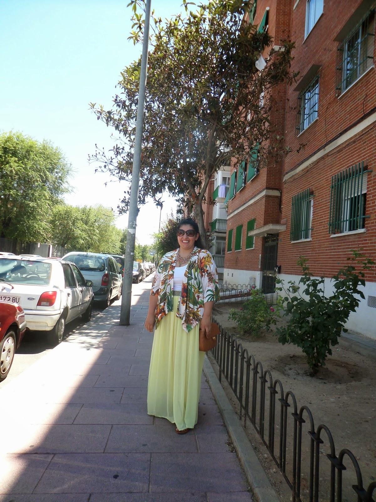 kimono and maxi skirt