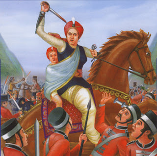 Rani Lakshmibai with her son