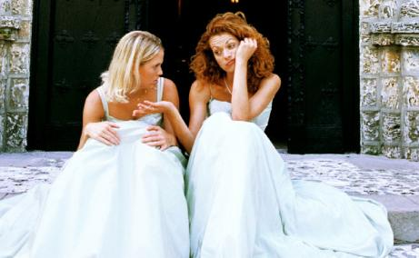 How To Deal With Weddings (When You're Single!) P- two girls women wear wedding dresses