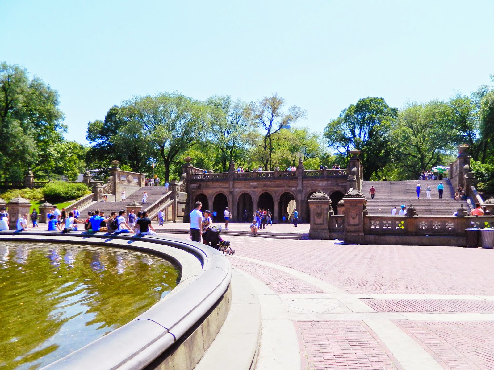 new york city central park architecture fountain green nature people