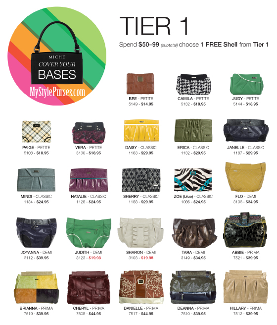 Miche May COVER YOUR BASES Promotion Tier One FREE Shells | Shop MyStylePurses.com
