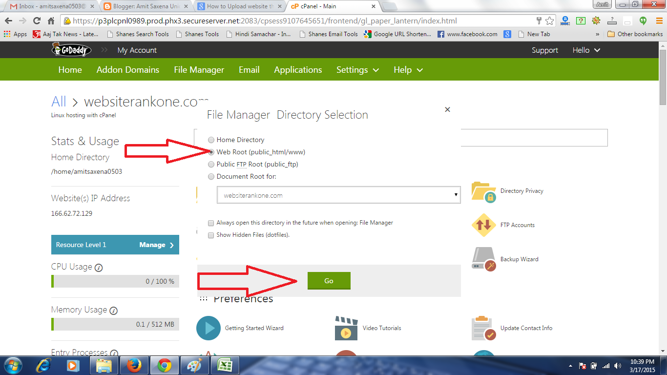 how to launch website through Cpanel in Godaddy