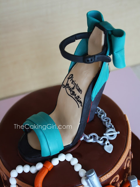 edible louboutin heel on cake