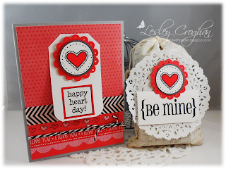 SRM Stickers Blog - Valentine Giftt Set by Lesley - #borders #card #doilies #fabric bags #muslin #gift #stickers #stamped #twine #valentine