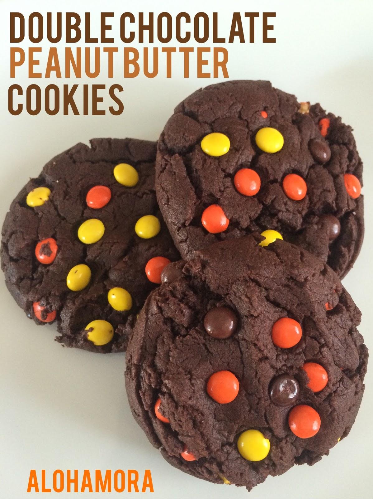 Double Chocolate Peanut Butter Reese's Pieces Cookies- Not everything in the Fall or during Halloween needs to be Pumpkin.  These soft, big, chocolate pb cookies are AMAZING!  Alohamora Open a Book http://alohamoraopenabook.blogspot.com/