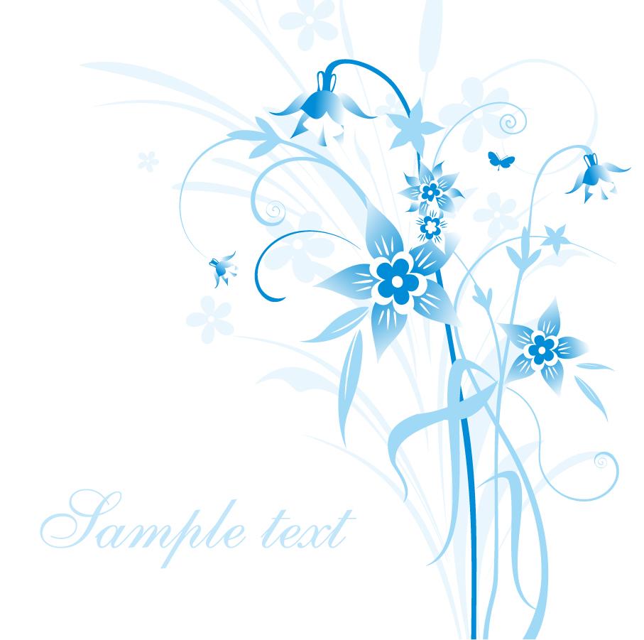 青い花の背景 Abstract Blue Floral Vector Illustration イラスト素材
