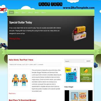 Blue Toys Blogger Template. blogger template magazine style