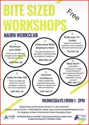 Bite sized workshops starting Weds 23rd Nov