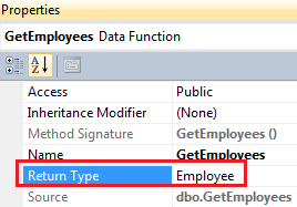 changing return type of select stored procedure in linq to sql