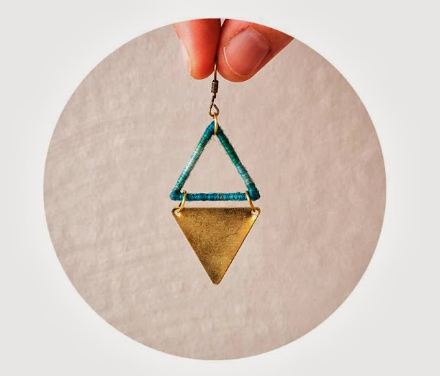 Modern Tribal Triangle Earrings by Trincar Uvas