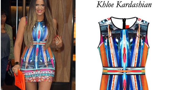 a9c3a6c13c10 WHAT SHE WORE  Khloe Kardashian wore a bright multi print orange and blue  mini dress in New York on May 29 ~ I want her style - What celebrities wore  and ...