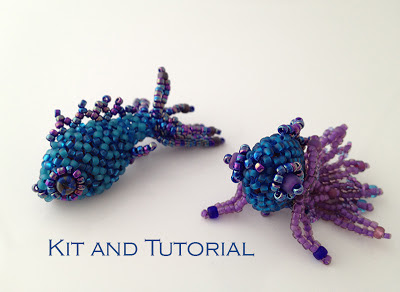 Fancy Fish Beadwoven Friends - blue fish color way by Karen Williams