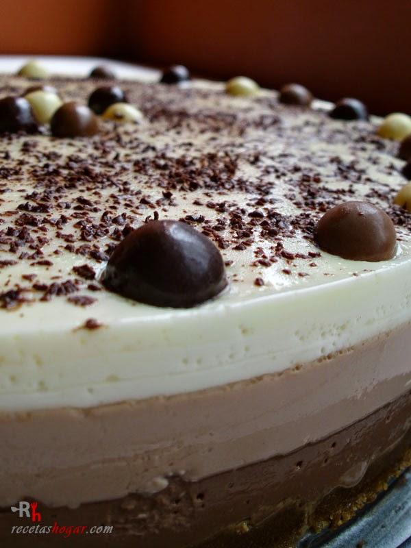 Tarta tres chocolates- presentación