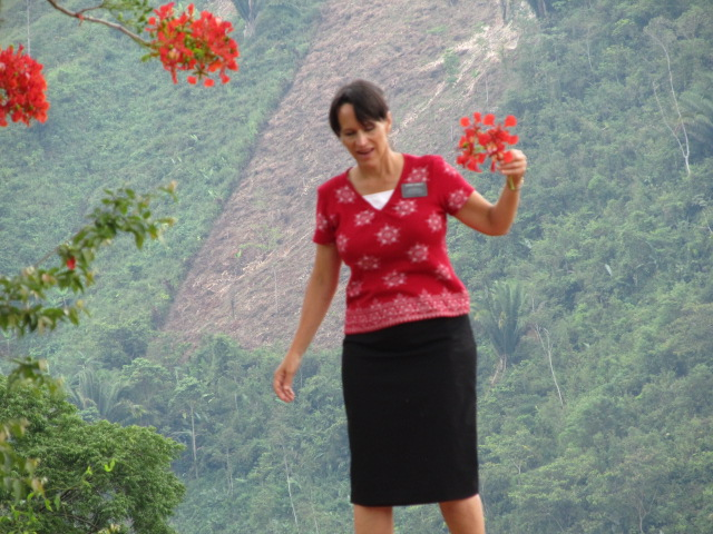 picking flowers on the mountainside