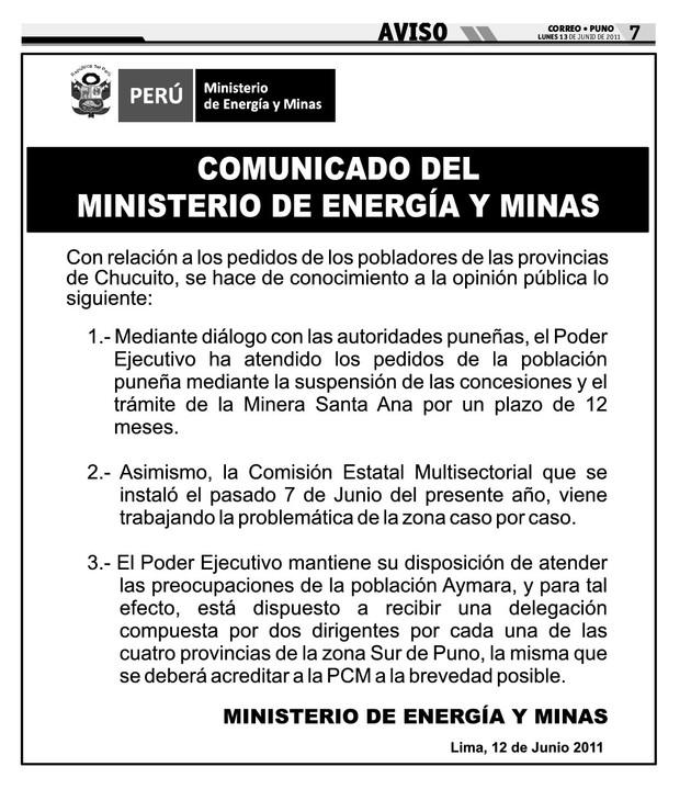 Grupo iniciativa anticorrupcion ilo comunicado del for Ministerio de minas