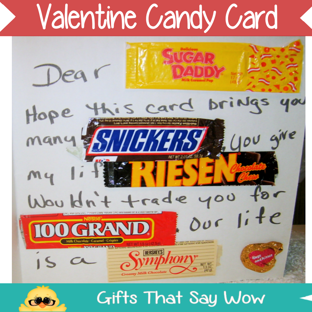 GIFTS THAT SAY WOW Fun Crafts and Gift Ideas Valentines Candy – Candy Valentine Card