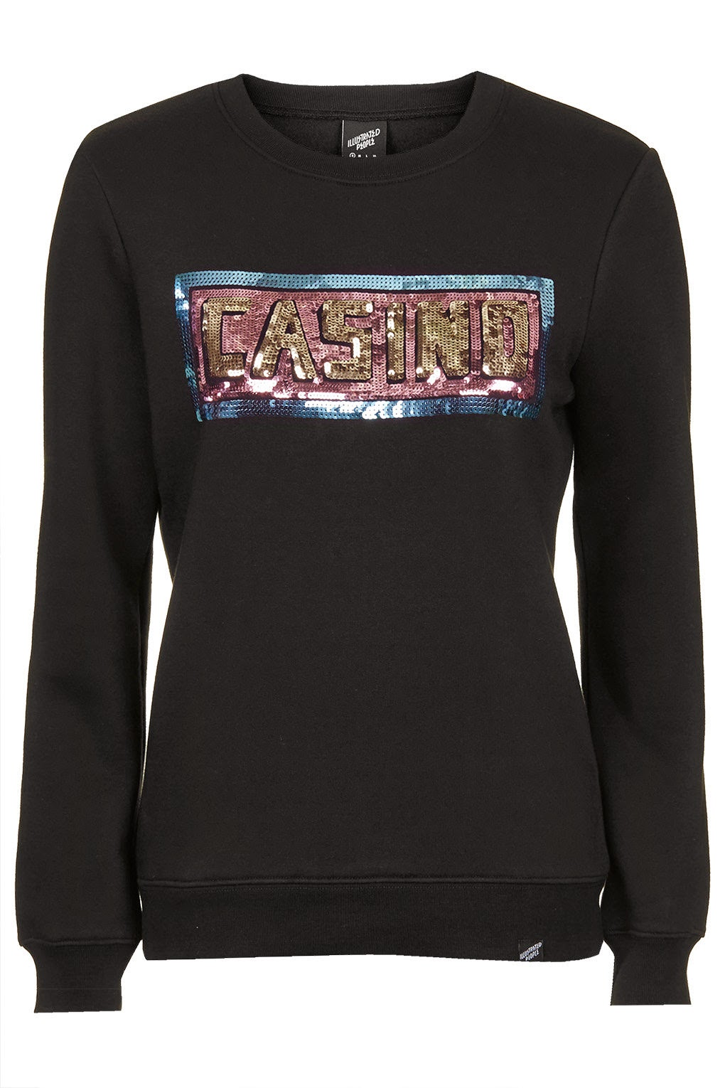 casino jumper, sequin illustrated people sweater,