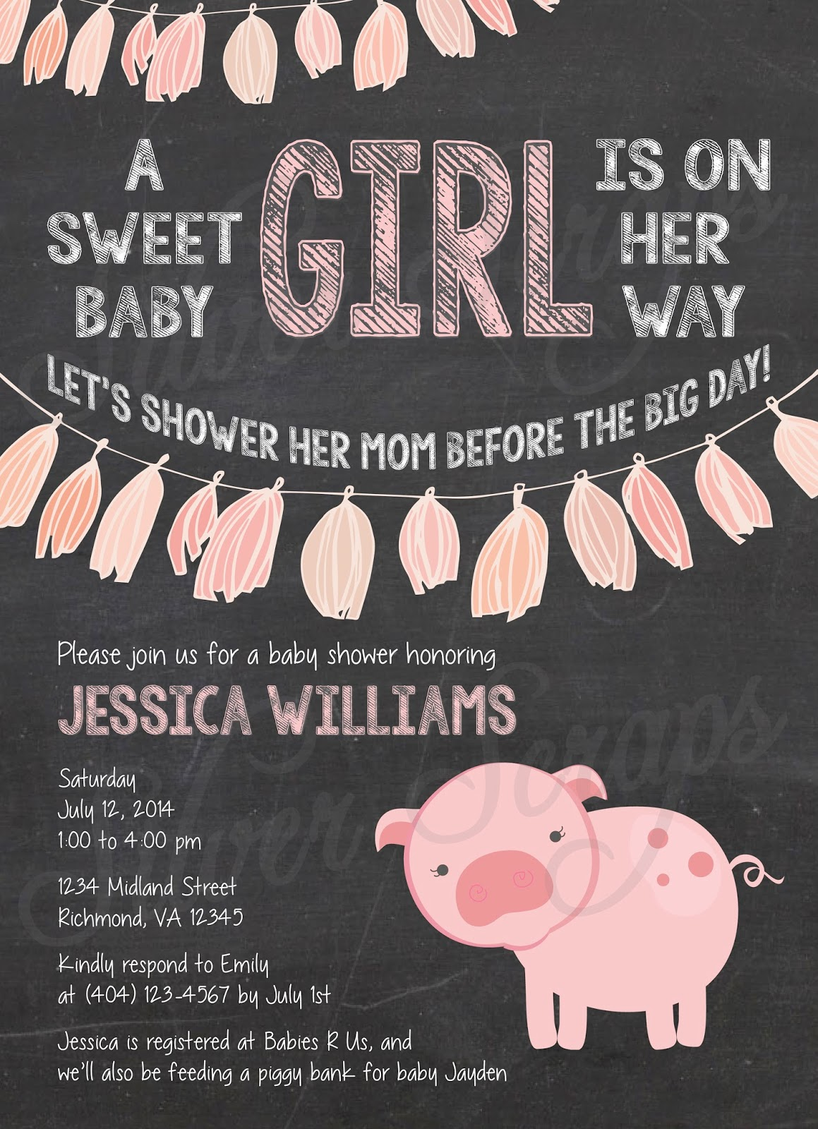 Chalkboard, Bunting and Pink Piggy Custom Girl Baby Shower Invitation - Tissue Paper Garland Pig Farm Garland Banner Flags Chalk Black White - 5 Printable Designs - Silver Scraps Peach Light Pink Blush Cream