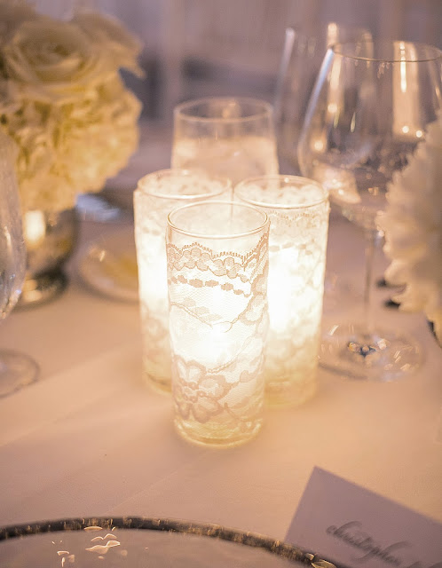 white lace wrapped candles
