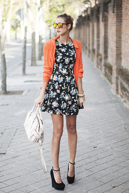 andrea gomez in ditsy tea-floral dress