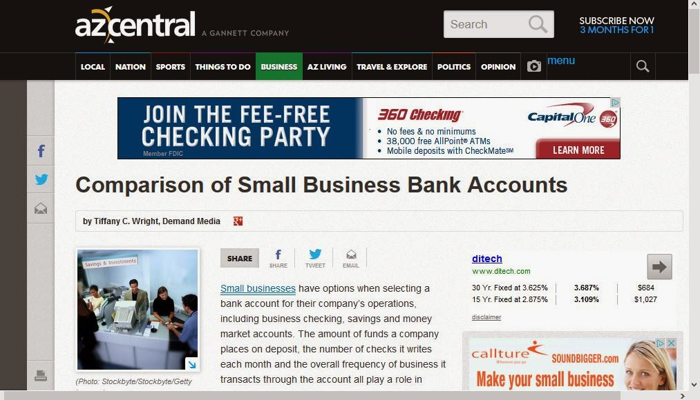 http://yourbusiness.azcentral.com/comparison-small-business-bank-accounts-26063.html