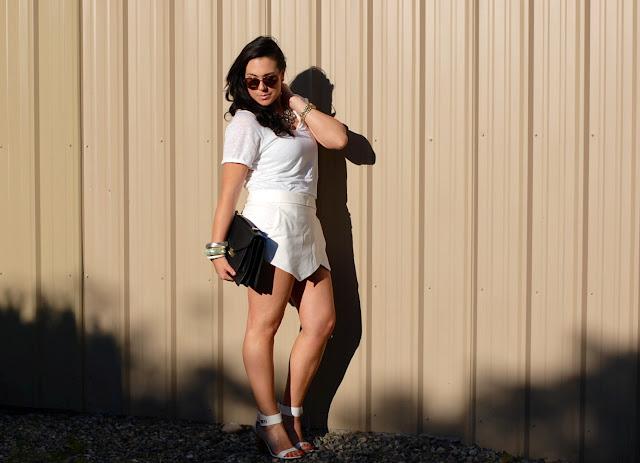 Zara wrap skort, Zara linen shirt, Topshop heels, J.Crew rhinestone bib necklace, Loeffler Randall Rider bag