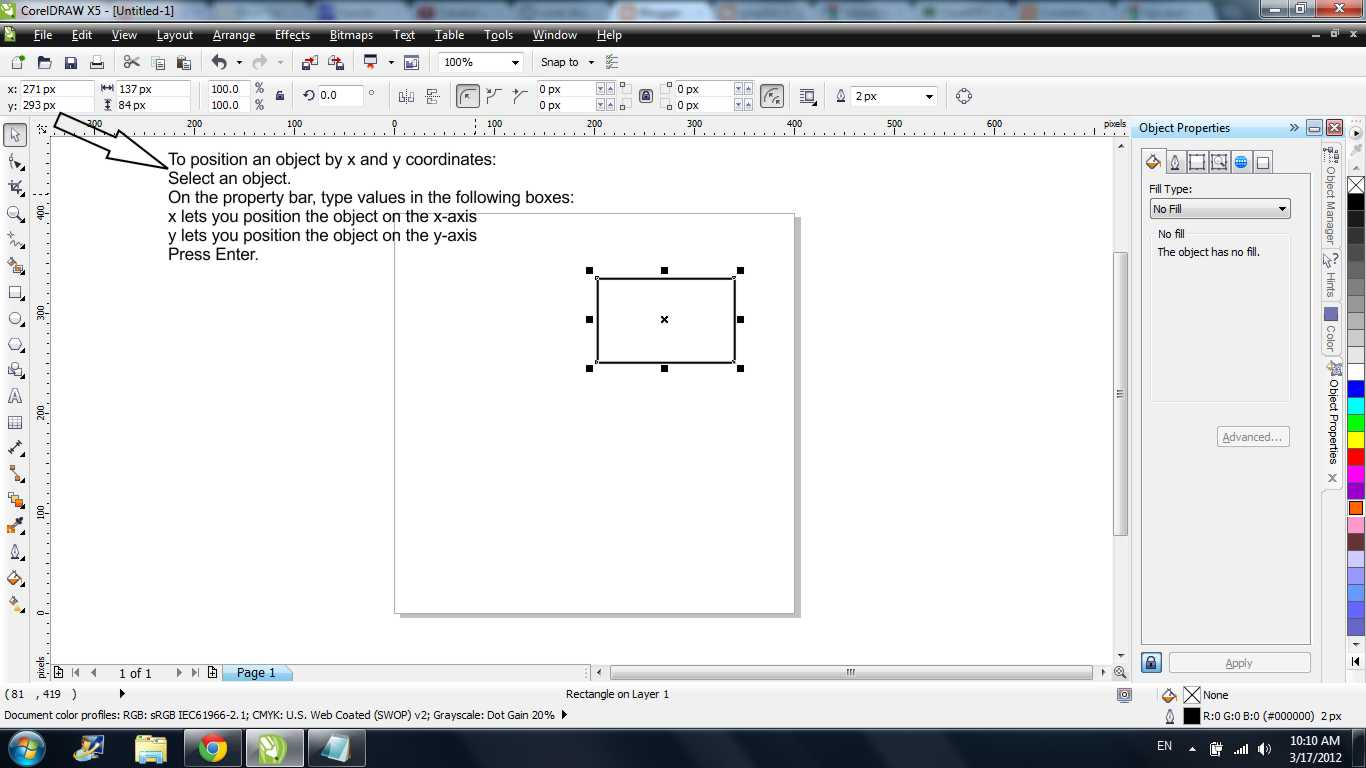 how to read vertical and horizontal rulers in coreldraw