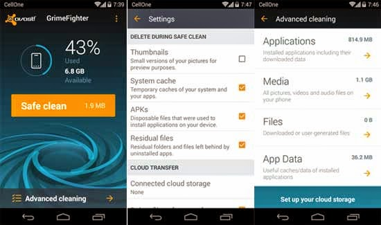 Easy & Fast way to Clean your Android Phone & Tablet Avast GrimeFighter