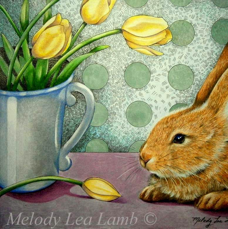 Melody Lea Lambs Art Bunny Rabbit and Flowers Painting in