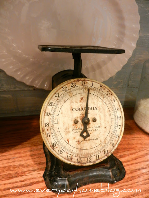antique scale, antique kitchen scale, kitchen scale, kitchen,white kitchen, white cabinets, corbels, faux, backsplash, brick, paint, Annie Sloan Chalk Paint, faux brick