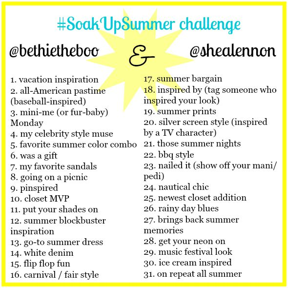 life with bethie the boo: soak up the summer instagram challenge
