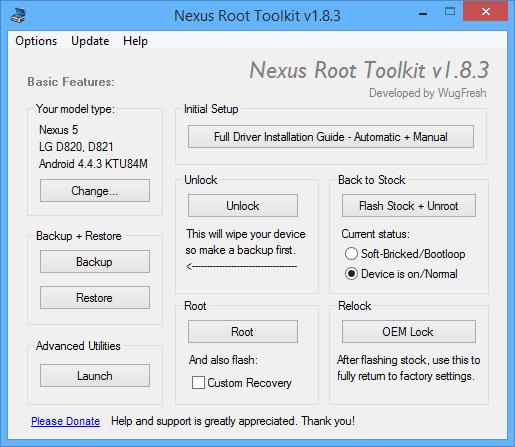 Herramienta para hacer unroot y dejar cómo el primer día un dispositivo Nexus.