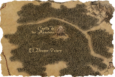 Detalle del mapa del juego ÉPICA: Edades Oscuras realizado por Manuel Ruiz. FAntasía, juego de rol y cartas