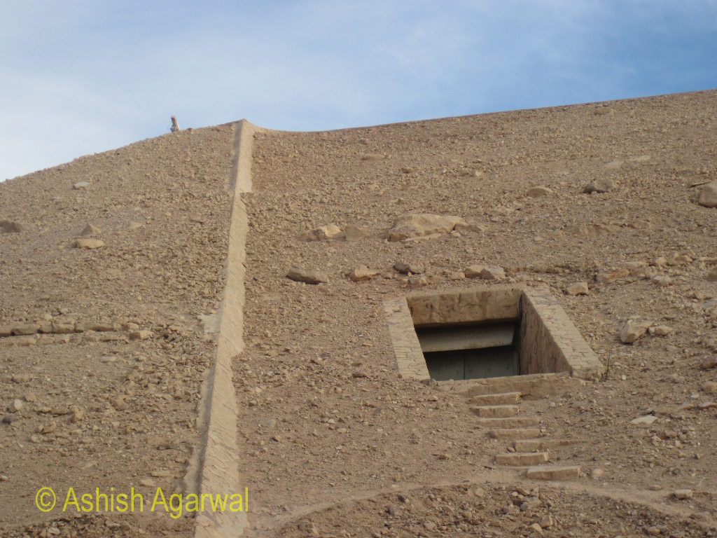 Access door in the back side of the hillock containing the temple of Abu Simbel in south Egypt