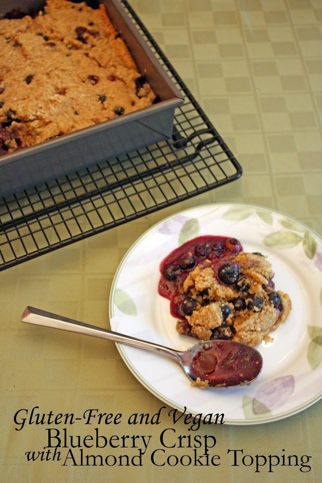 lemon blueberry crisp with almond cookie topping (gluten-free and vegan)