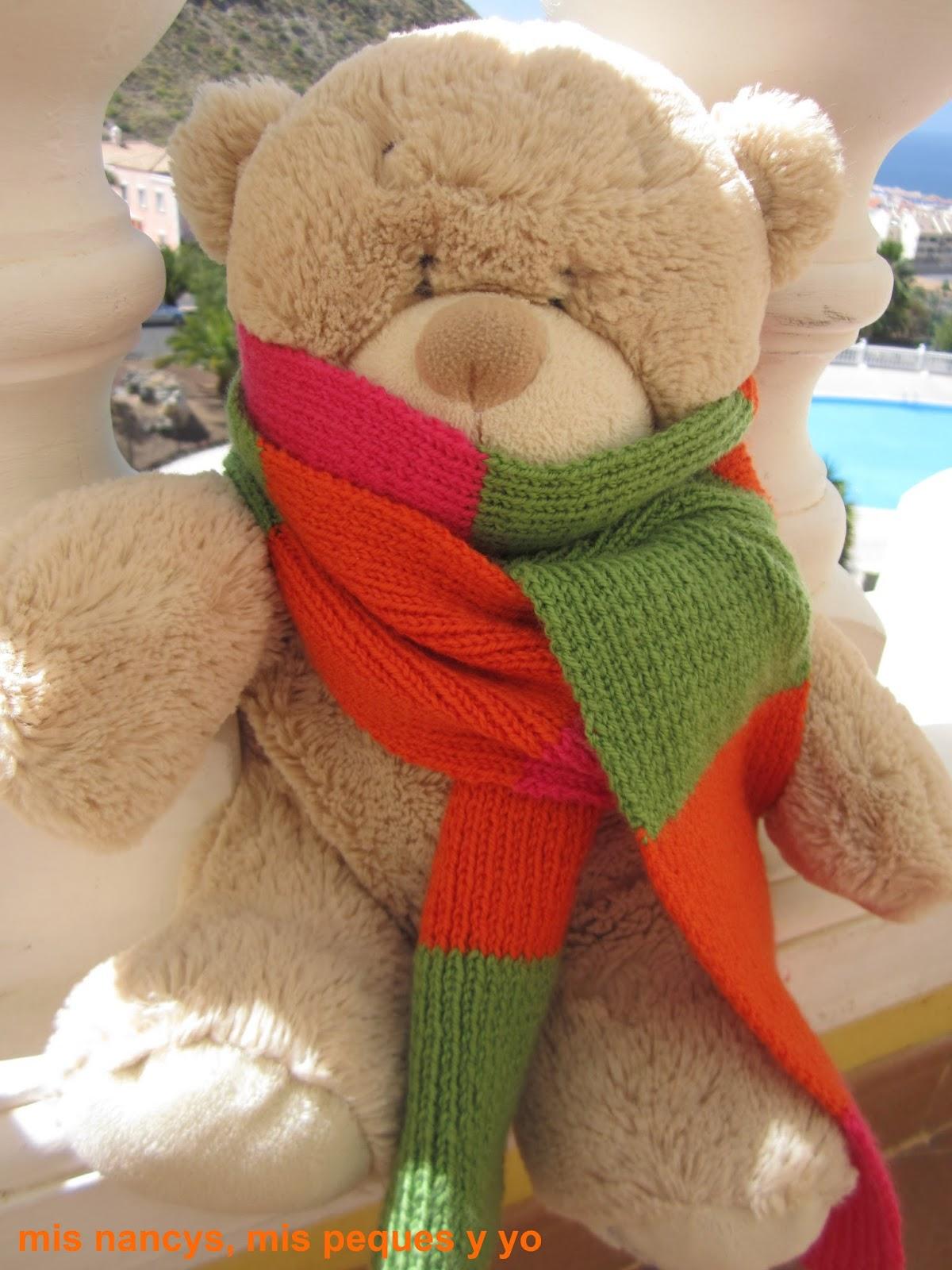 mis nancys, mis peques y yo, tutorial bufanda tricolor niña osito