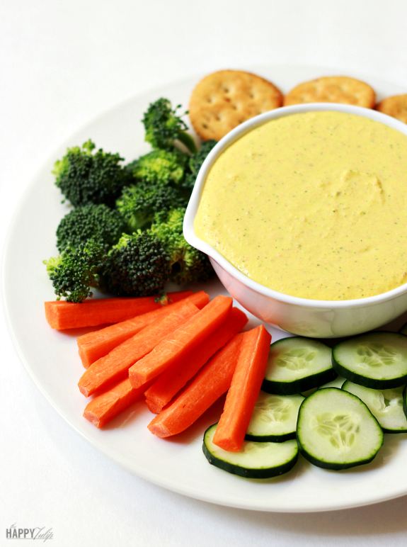 Creamy Feta Veggie Dip — tangy, garlicky, delicious dip made with veggies │ thehappytulip.com
