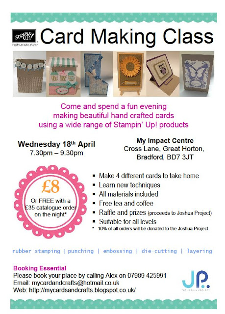 Stampin Up Card Class 18 April Flyer