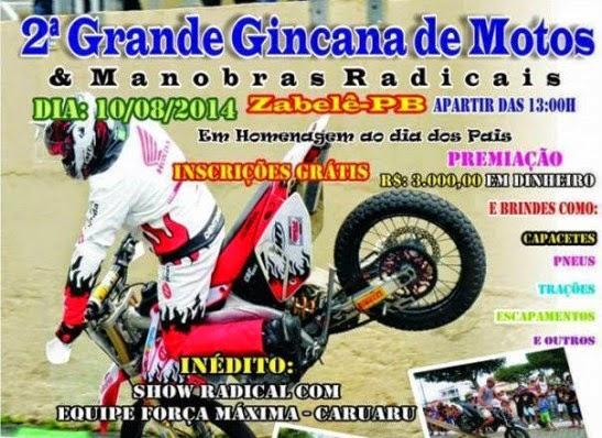 Zabelê realiza 2ª Gincana de motos no próximo domingo