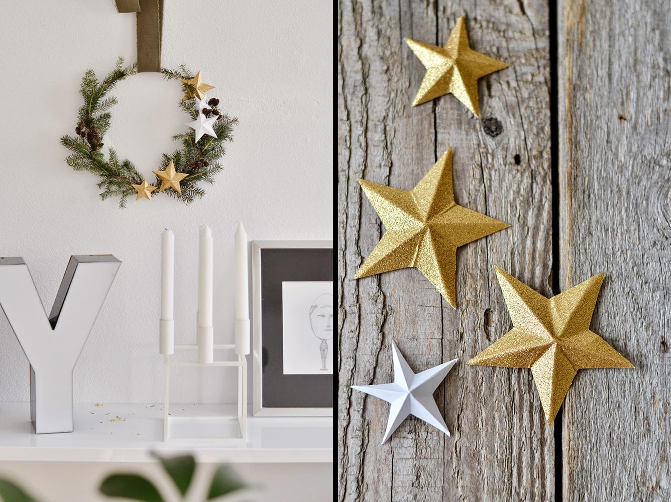 Decoraci n f cil diy corona de navidad con estrellas de for Decoracion con estrellas
