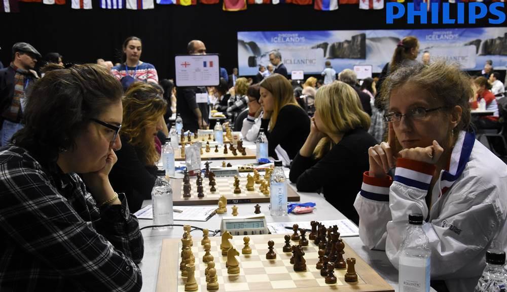L'équipe de France féminine d'échecs face à la Géorgie - Photo © site officiel
