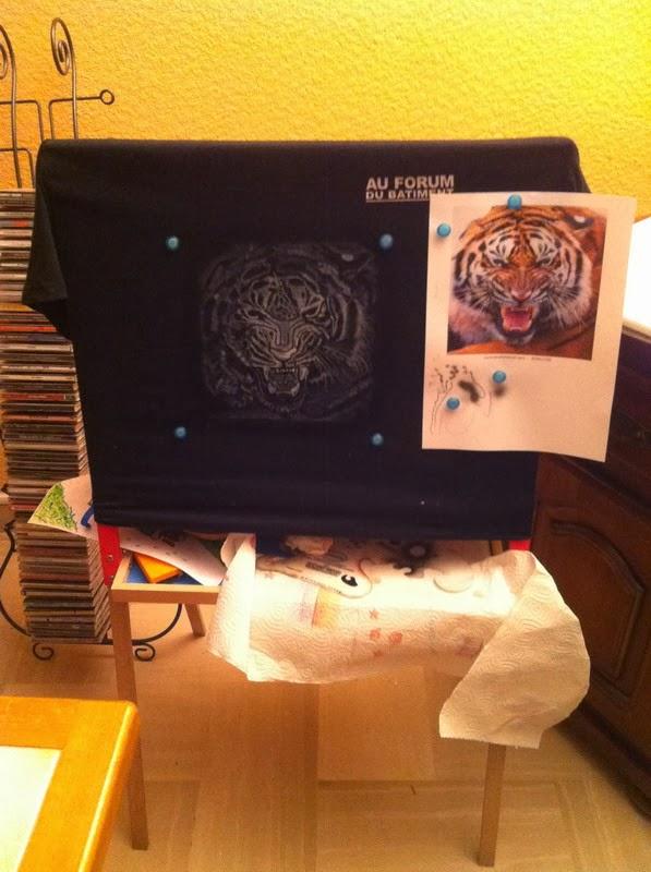 photo(1) tuto et pas a pas tigre sur teeshirt peinture aérographe