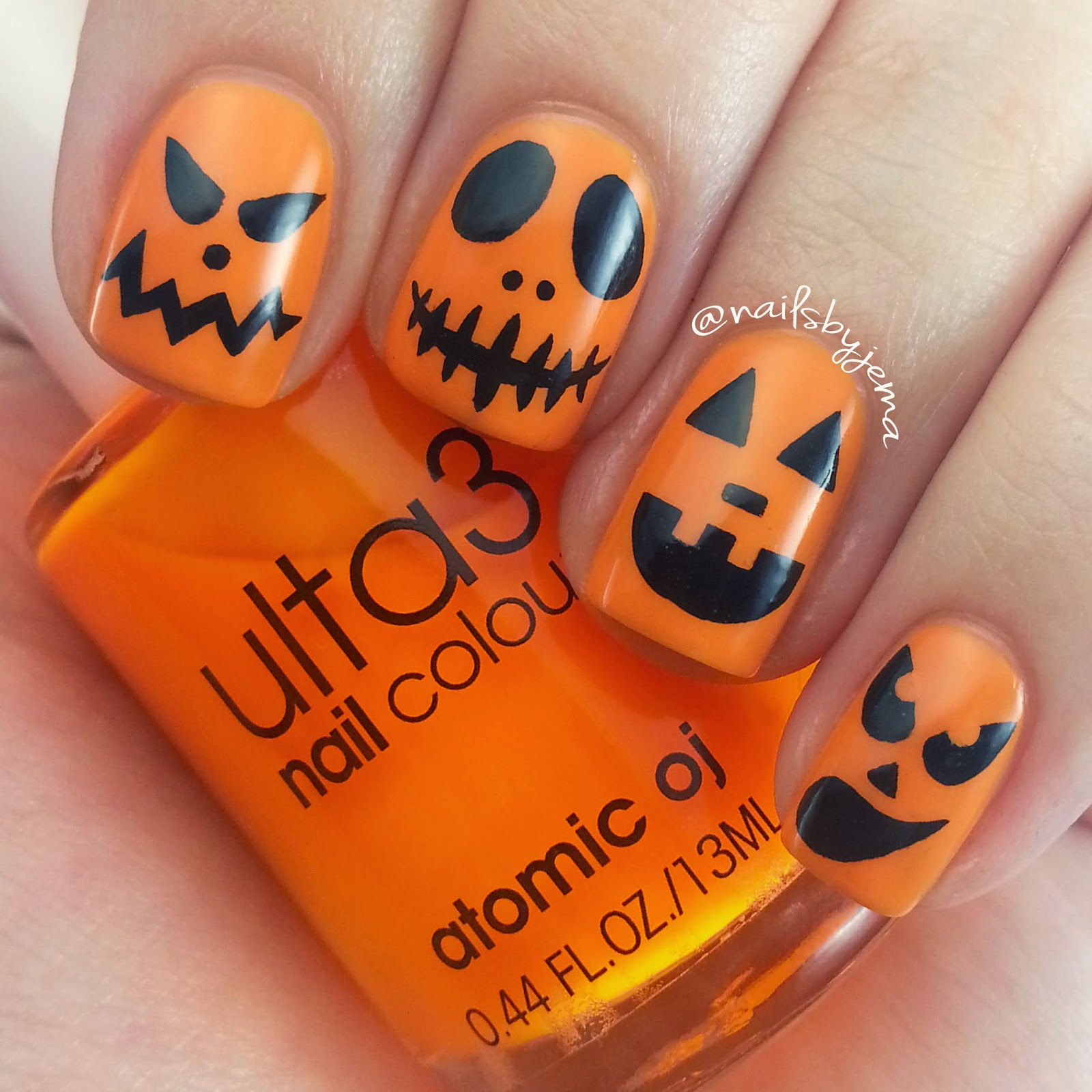 N A I L S B Y J E M A Carved Pumpkin Face Nails With Video