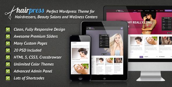 WordPress Hair Press Saloon theme